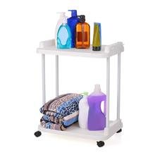 2-Tier Rolling Storage Cart Mobile Shelving Unit Organizer Slide-Out