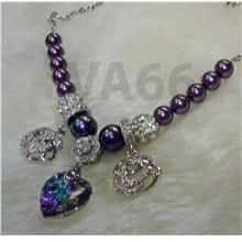 18KGP Purple Swarovski Pearl Heart Crystal Adjustable Bracelet Gelang