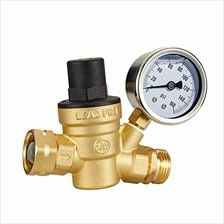 Esright Brass Water Pressure Regulator 3/4 Lead-Free with Gauge for RV Camper