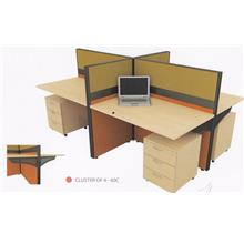 Cluster of 4 pax Office Table Workstation Partition