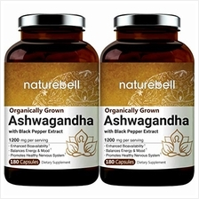 2 Pack Ashwagandha Capsules with Black Pepper Extract, 1200mg Per Serving, 180