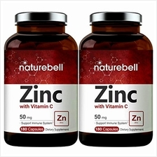 2 Pack Zinc 50mg (Zinc Supplements with Vitamin C), 180 Capsules, Strongly Sup