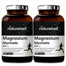 2 Pack NatureBell Magnesium Glycinate 500mg, 180 Capsules, Supports Muscle, Bo