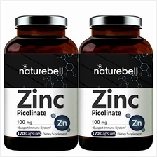 2 Pack Maximum Strength Zinc 100mg, Zinc Picolinate Supplement, 120 Capsules,