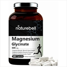 NatureBell Maximum Strength Magnesium Glycinate 500mg, 180 Capsules, Supports
