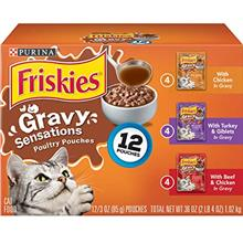 Purina Friskies Gravy Wet Cat Food Variety Pack, Gravy Sensations Poultry Pouc