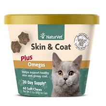 NaturVet – Skin  & Coat Plus Omegas For Cats – 60 Soft Chews – Supports