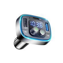 LIHAN Bluetooth FM Transmitter for Car,7 Color LED Backlit Car Adapter, QC3.0