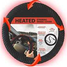 Black 12V Heated Steering Wheel Cover – DC Powered Hand Warmer with Automate