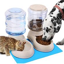 Automatic Cat Feeder and Water Dispenser in Set with Pet Food Mat for Small Me