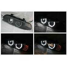 BMW E39 Black Projector Headlamp w Crystal Bar