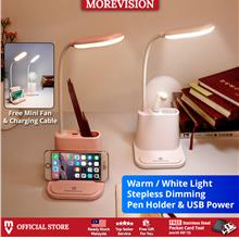 LED Touch Dimming Desk Table Lamp with Fan Phone Holder USB Charging