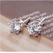 Copper Platinum Plated Big Cubic Zirconia Stud Earring