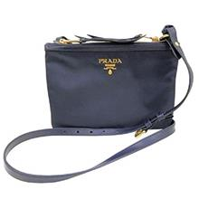 Prada Womens Tessuto Nylon Blue Double Zip Crossbody Bag 1BH046from USA