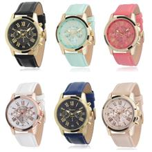 Geneva Women's Fashion Roman Numerals Faux Leather Wrist Watch (6 Colors)