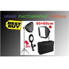 60cm Soft Box for Flash Light Speedlite + 2m Light Stand Kit