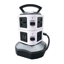 Dual USB 2 Layer Vertical Universal Socket Tower Retractable Cable 2m