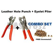 Combo Leather Hole Punch + Grommet Eyelet Punch Plier + Grommets