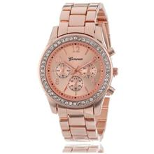 Geneva Steel Belt Elegant Quartz Diamond Chronograph CRT Women's Watch
