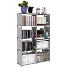 Double Book Storage Rack 5 Tier with 8 Columns (Grey)