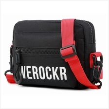 WEROCKER Fashion Messenger Sling Bag Streetwear Black Red Beg Waterproof Casua