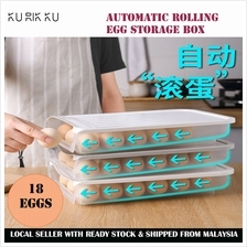 Automatic Rolling Egg Storage Box with Lid Stackable Anti-collision