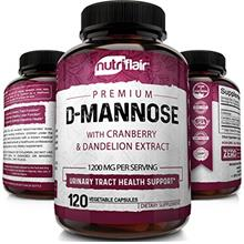 NutriFlair D-Mannose 1200mg, 120 Capsules - with Cranberry and Dandelion Extra