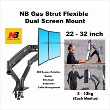 NB F195A 22-32 Inch Gas Strut Dual Screen Monitor Desktop Mount 2610.1