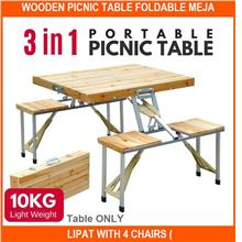 Wooden Picnic Table Foldable Meja Lipat With 4 Chairs ( - [TABLE ONLY]