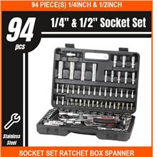 94 PIECE(s) 1/4inch & 1/2inch Socket SET Ratchet Box Spanner Wrench Ha