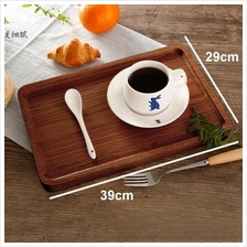 Solid wood serving tray japanese style platter food service 39x29cm