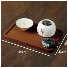 Solid wood serving tray japanese style platter food service 34x23cm