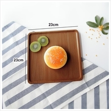 Solid wood serving tray japanese style platter food service 23x23cm