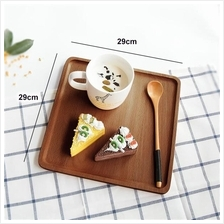 Solid wood serving tray japanese style platter food service 29x29cm