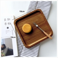 Solid wood serving tray japanese style platter food service 18x18cm