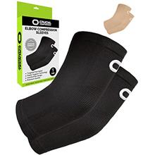 Elbow Brace Compression Sleeve (1 Pair) - Instant Arm Support Elbow Sleeves fo