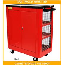 Tool Trolley With 3 Tier Cabinet Storage + Net Body ( Dj-14 ) - [RED]