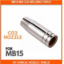 Mb15 Mig Co2 Welding Torch Of Conical Nozzle / Shield Cup / Gas Nozzle