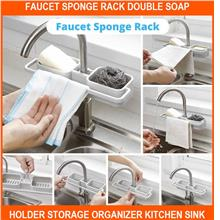 Faucet Sponge Rack Double Soap Holder Storage Organizer Kitchen Sink D