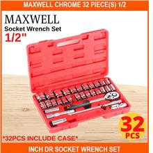 Maxwell Chrome 32 PIECE(s) 1/2 Inch Dr Socket Wrench SET Ratchet Spann