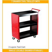 7 Drawer Tool Trolley With Single Locable Drawe - [3 LAYERS TOOL CART]
