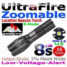 UltraFire Zoomable 8s Cree XM-L2 U3 LED Zoom Torch FlashLight Set XML2
