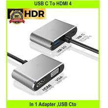 USB C To HDMI 4 In 1 Adapter ,USB Cto VGA 1080p Dual Display & Pd Fast