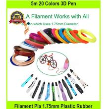 5m 20 Colors 3D Pen Filament Pla 1.75mm Plastic Rubber Printing Filame