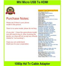 Mhl Micro USB To HDMI 1080p Hd Tv Cable Adapter For Android Smart Phon