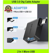 USB 3.0 Otg Cable Adapter 2 In 1 Micro USB Adapter Type C Cable Conver