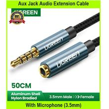 Aux Jack Audio Extension Cable With Microphone (3.5mm - [BLACK + 0.5M]