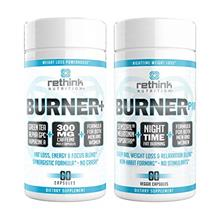Rethink Nutrition Fat Burner Bundle - BurnerPM & Burner+, Nighttime & Daytim