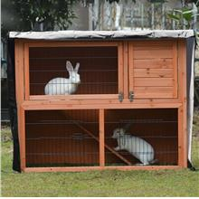 4ft Rabbit Hutch Cover Double Decker Pet Bunny Cage Waterpro - [BLACK]