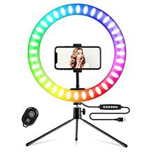 Yesker RGB Ring Light 10 Inch LED Ringlight with Brightness Dimmable 7 RGB Col